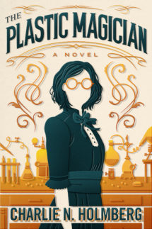 A minimalist cover with a young woman wearing glasses standing in front of a chemical lab table. The Plastic Magician cover.